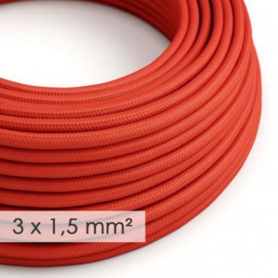 Cable electrico de sección grande 3x1,50 redondo - Tejido Efecto Seda Rojo RM09