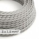 Cable electrico de sección grande 3x1,50 trenzado - Tejido Efecto Seda Plateado TM02