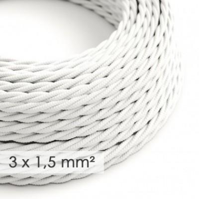 Cable electrico de sección grande 3x1,50 trenzado - Tejido Efecto Seda Blanco TM01