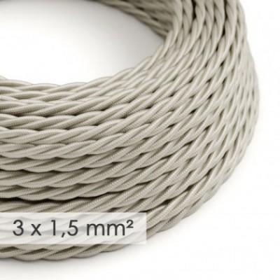 Cable electrico de sección grande 3x1,50 trenzado - Tejido Efecto Seda Marfil TM00