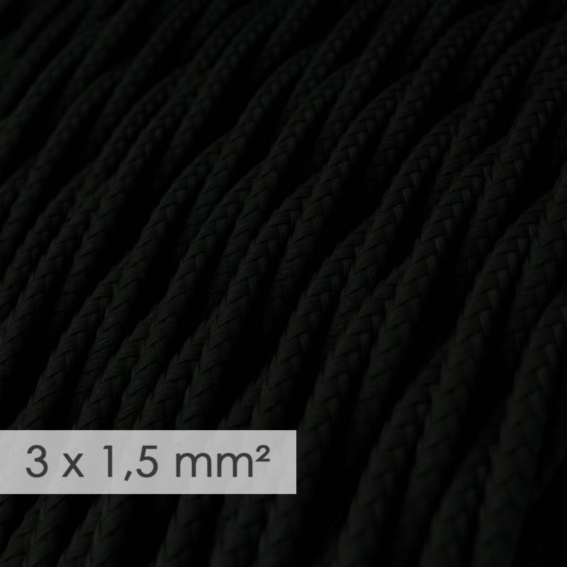 Cable electrico de sección grande 3x1,50 trenzado - Tejido Efecto Seda Negro TM04