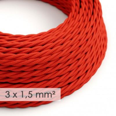 Cable electrico de sección grande 3x1,50 trenzado - Tejido Efecto Seda Rojo TM09