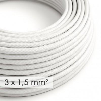 Cable electrico de sección grande 3x1,50 redondo - Tejido Efecto Seda Blanco RM01