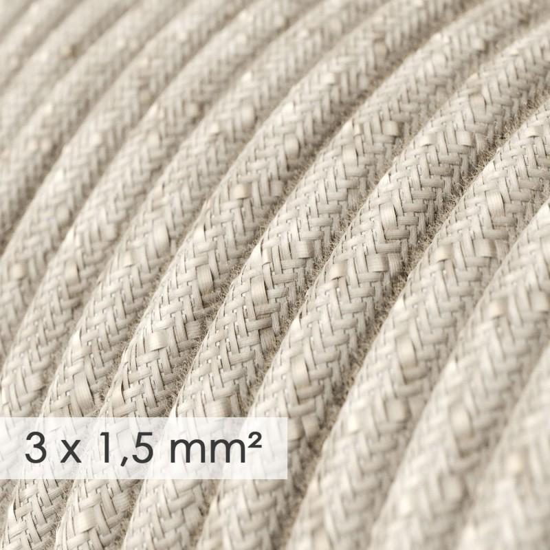 Cable electrico de sección grande 3x1,50 redondo - Lino Natural Neutro RN01