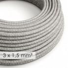 Cable electrico de sección grande 3x1,50 redondo - Lino Natural Gris RN02