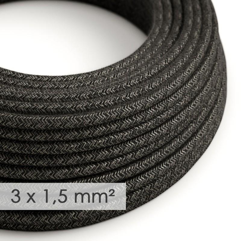 Cable electrico de sección grande 3x1,50 redondo - Lino Natural Antracita RN03