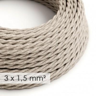 Cable electrico de sección grande 3x1,50 trenzado - Lino Natural Neutro TN01