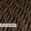 Cable electrico de sección grande 3x1,50 trenzado - Lino Natural Marrón TN04