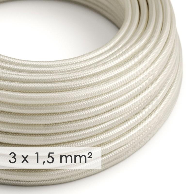 Cable electrico de sección grande 3x1,50 redondo - Tejido Efecto Seda Marfil RM00