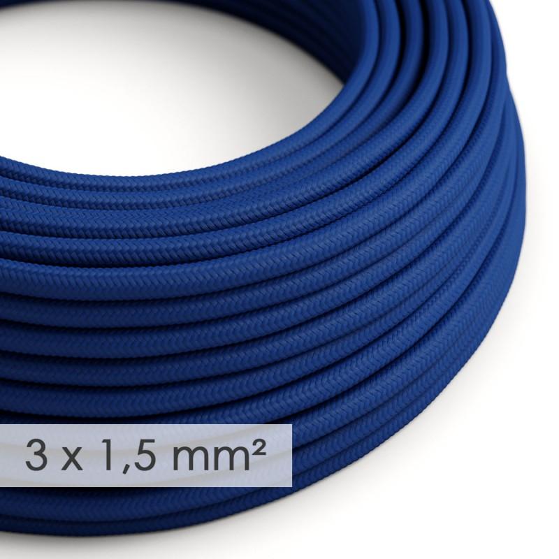 Cable electrico de sección grande 3x1,50 redondo - Tejido Efecto Seda Azul RM12