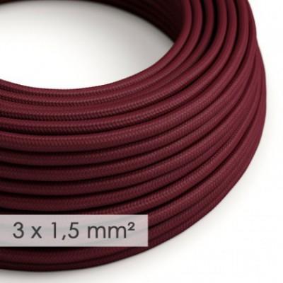 Cable electrico de sección grande 3x1,50 redondo - Tejido Efecto Seda Burdeos RM19