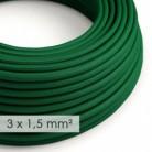 Cable electrico de sección grande 3x1,50 redondo - Tejido Efecto Seda Verde Oscuro RM21
