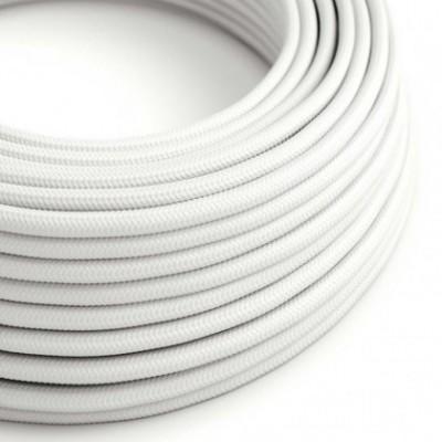 Cable Eléctrico Redondo Recubierto en tejido Efecto Seda Color Sólido, Blanco RM01
