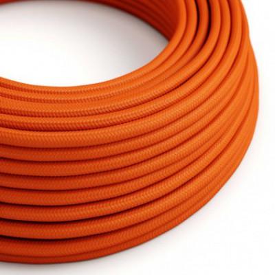 Cable Eléctrico Redondo Recubierto en tejido Efecto Seda Color Sólido, Naranja RM15