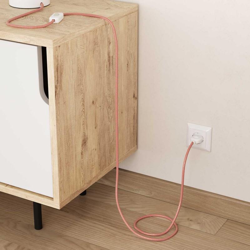 Cable Eléctrico Redondo Recubierto en tejido Efecto Seda ZigZag, Naranja RZ15