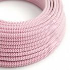 Cable Eléctrico Redondo Recubierto en tejido Efecto Seda ZigZag, Fuchsia RZ08