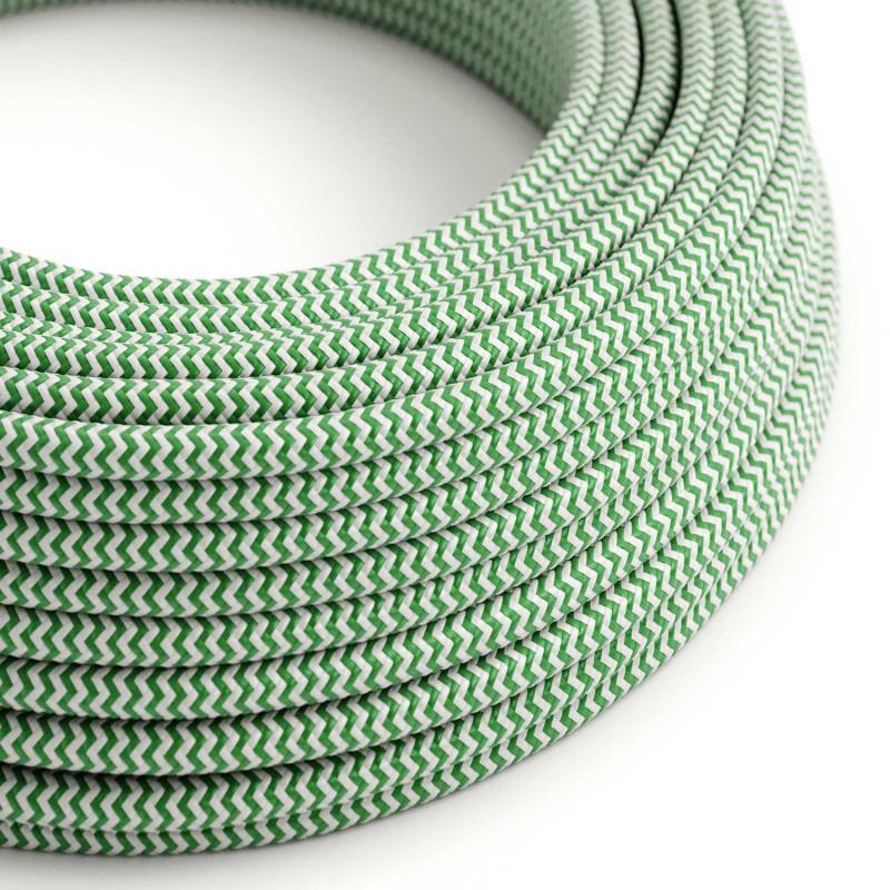 Cable Eléctrico Redondo Recubierto en tejido Efecto Seda ZigZag, Verde RZ06