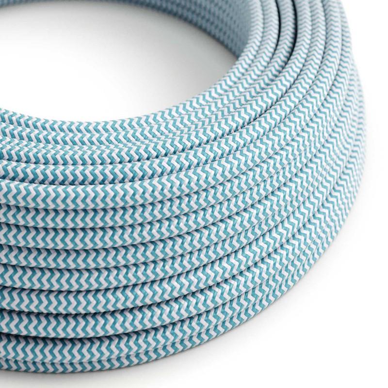 Cable Eléctrico Redondo Recubierto en tejido Efecto Seda ZigZag, Turquesa RZ11