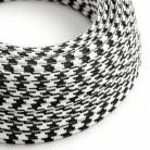 Cable Eléctrico Redondo Recubierto en tejido Efecto Seda Bicolor, Negro RP04