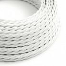 Cable Eléctrico Trenzado Recubierto en tejido Efecto Seda Color Sólido Blanco TM01