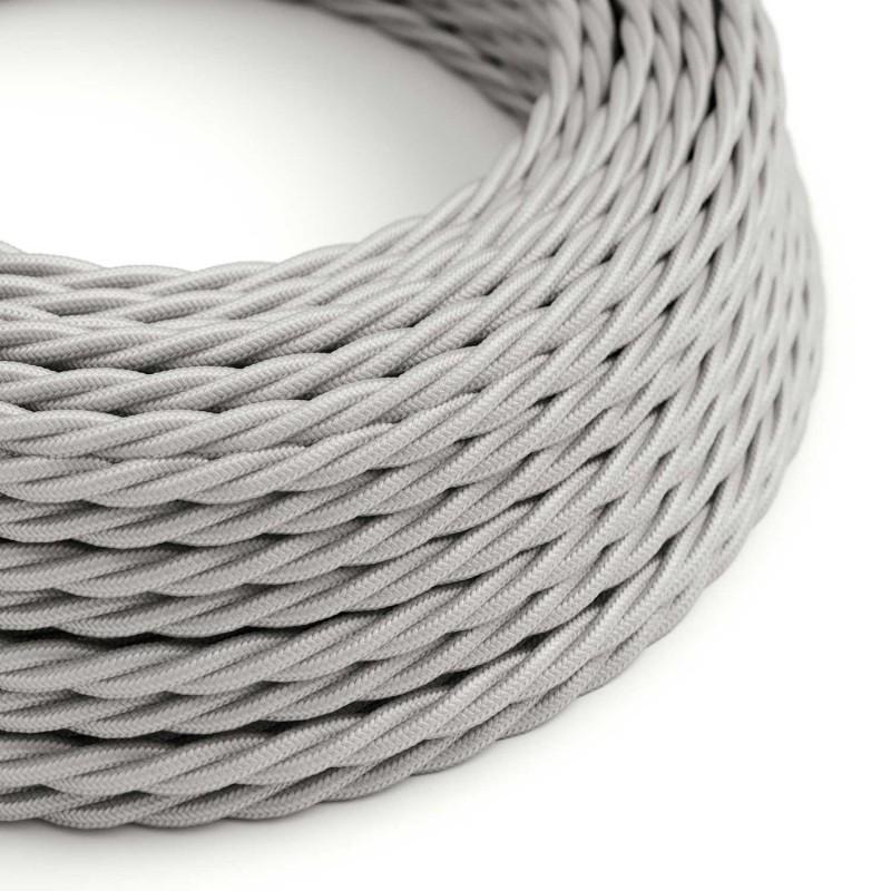 Cable Eléctrico Trenzado Recubierto en tejido Efecto Seda Color Sólido, Plateado TM02
