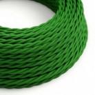 Cable Eléctrico Trenzado Recubierto en tejido Efecto Seda Color Sólido, Verde TM06