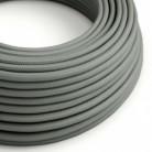 Cable Eléctrico Redondo Recubierto en tejido Efecto Seda Color Sólido, Gris RM03
