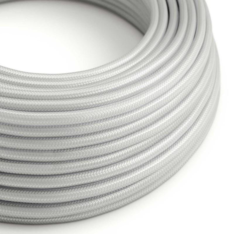 Cable Eléctrico Redondo Recubierto en tejido Efecto Seda Color Sólido, Plateado RM02