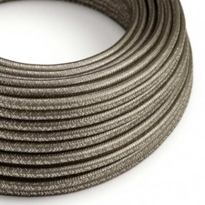 Cable Eléctrico Redondo Recubierto en tejido Efecto Seda Color Sólido, Gris Glitter RL03