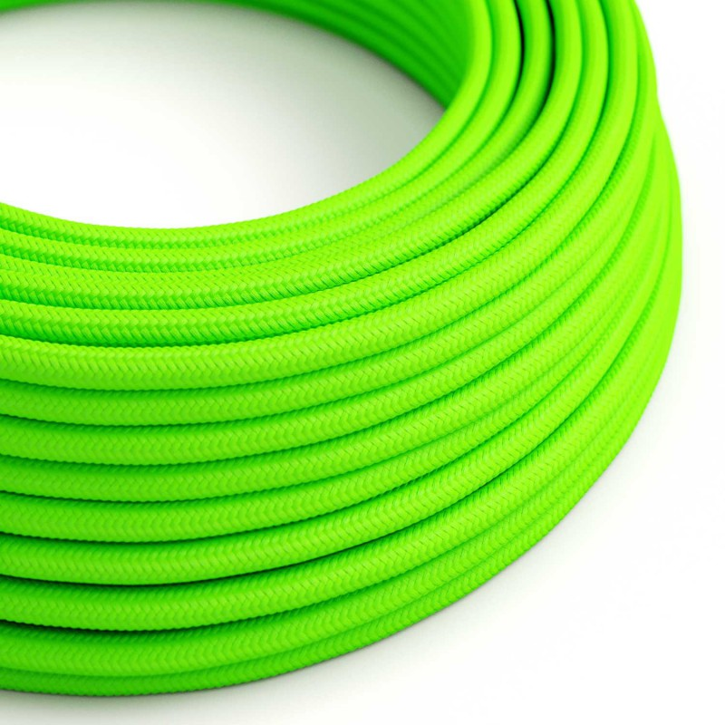 Cable Eléctrico Redondo Recubierto en tejido Efecto Seda Color Sólido, Verde Fluo RF06