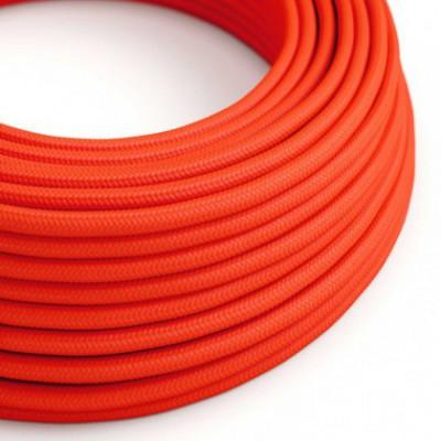 Cable Eléctrico Redondo Recubierto en tejido Efecto Seda Color Sólido, Naranja Fluo RF15
