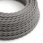 Cable Eléctrico Trenzado Recubierto en Lino Natural Gris TN02