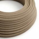 Cable Eléctrico Redondo Recubierto en Algodón Zigzag color Corteza y Lino Natural RD73