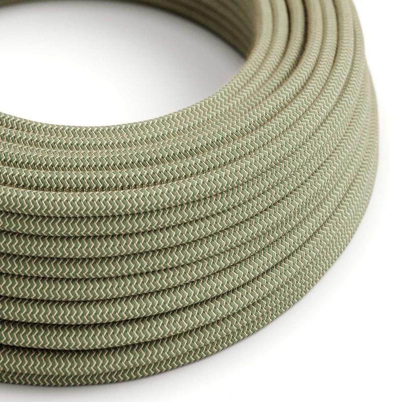Cable Eléctrico Redondo Recubierto en Algodón Zigzag color Verde Tomillo y Lino Natural RD72