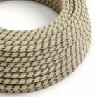 Cable Eléctrico Redondo Recubierto en Algodón Stripes color Antracita y Lino Natural RD54