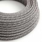 Cable Eléctrico Redondo Recubierto en Algodón Onyx Tweed color Negro, Lino Natural y Acabado Glitter RS81