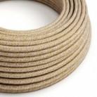 Cable Eléctrico Redondo Recubierto en Algodón Tweed Herrumbre color Marrón, Lino Natural y Acabado Glitter RS82