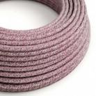 Cable Eléctrico Redondo Recubierto en Algodón Tweed Burgundy color Rojo, Lino Natural y Acabado Glitter RS83