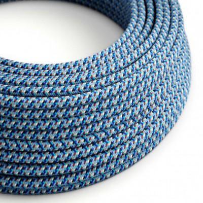 Cable eléctrico Redondo recubierto en tejido efecto seda RX03 Pixel Turquesa