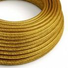 Cable Eléctrico Redondo Recubierto en tejido Efecto Seda Color Sólido, Dorado Glitter RL05