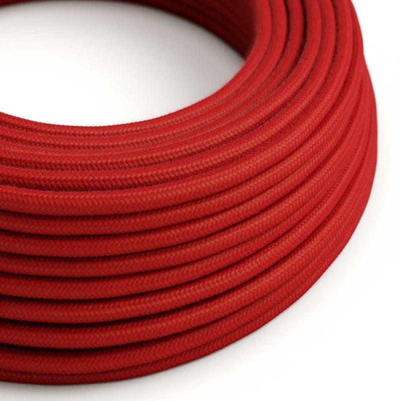 Cable Eléctrico Redondo Recubierto en Algodón Color Sólido Rojo Fuego RC35