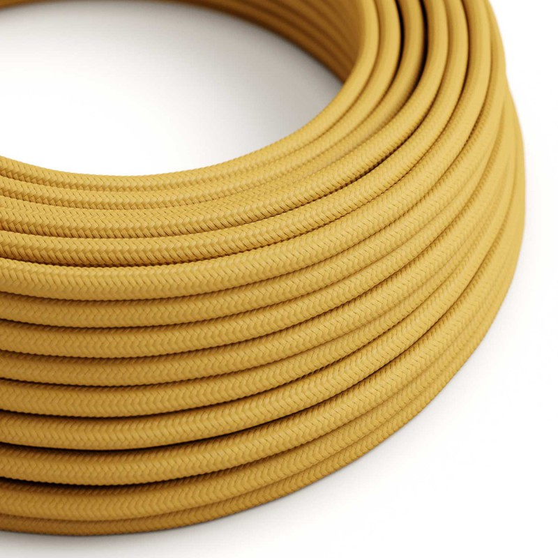 Cable Eléctrico Redondo Recubierto en tejido Efecto Seda Color Sólido, Mostaza RM25