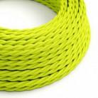 Cable Eléctrico Trenzado Recubierto en tejido Efecto Seda Color Sólido, Amarillo Fluo TF10