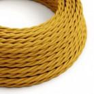 Cable Eléctrico Trenzado Recubierto en tejido Efecto Seda Color Sólido, Mostaza TM25