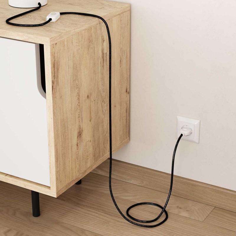 Cable Eléctrico Redondo Recubierto en tejido Efecto Seda Color Sólido, Negro Glitter RL04