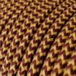 Cable Eléctrico Redondo recubierto en tejido efecto Seda ZigZag Dorado y Burdeos RZ23