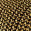 Cable Eléctrico Redondo recubierto en tejido efecto Seda ZigZag Dorado y Negro RZ24