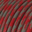 Cable Eléctrico Redondo recubierto en Algodón Bicolor Rojo Fuego y Gris RP28