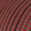 Cable Eléctrico Redondo recubierto en Algodón ZigZag Rojo Fuego y Gris RZ28