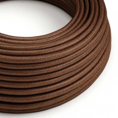 Cable Eléctrico Redondo recubierto en tejido de Rayón Color Sólido Herrumbre RM36